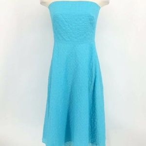 J. Crew Dress 6 Turquoise Aqua Blue Seersucker Str